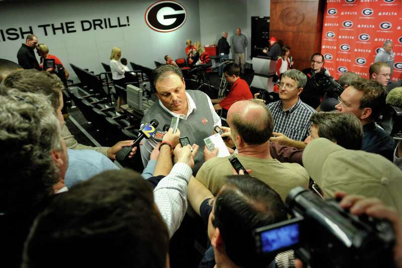 Georgia defensive coordinator Todd Grantham speaks with the media during a national signing day news