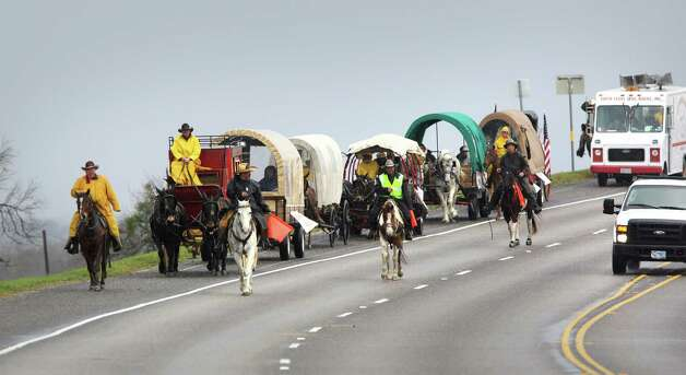The South Texas Trail Ride which started in Falls City today, Wednesday, Feb. 6, 2013, and reached Floresville. Photo: Bob Owen, San Antonio Express-News / © 2012 San Antonio Express-News