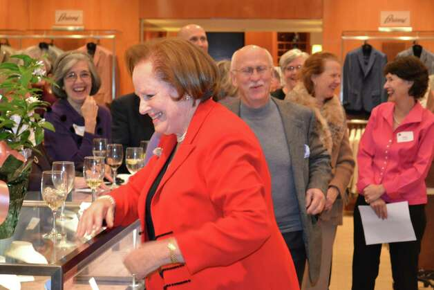Mary Hull shares a laugh with friends during the recent SoundWaters benefit at which she was roasted. Photo: Contributed Photo