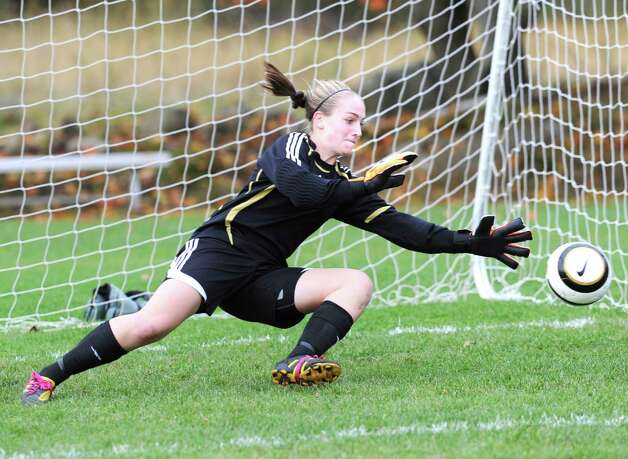 Convent of the Sacred Heart goalie  has signed a National Letter of Intent to play women's soccer at Northwestern University. Photo: Bob Luckey / Greenwich Time