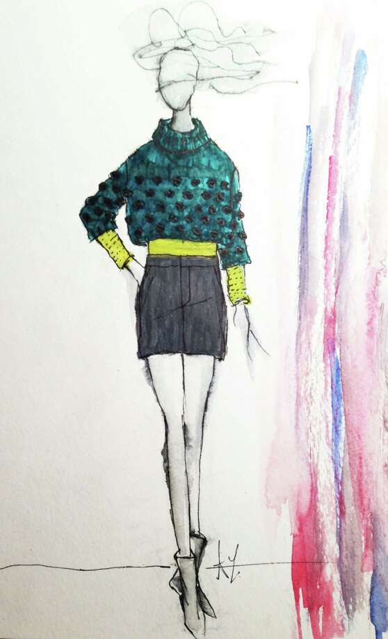 Designer Ann Yee's sketch of a look she'll send onto the runway during New York Fashion Week's fall 2013-14 shows. Yee says that color and the juxtaposition of hard versus soft will be a popular trend next fall.