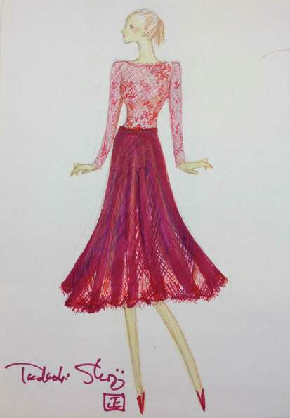 Tadashi Shoji will use red lace and tulle to create a dramatic tea-length cocktail dress for 2013.