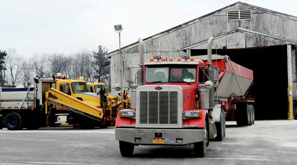 A trailer load of salt arrives at the New York State Department of Transportation Wednesday morning
