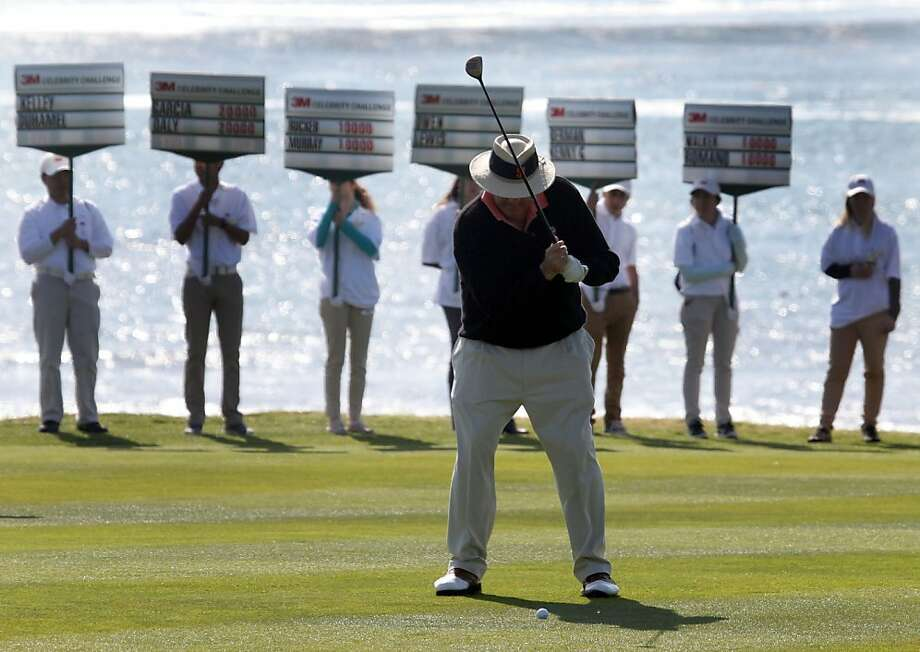 Chris Berman lines up his second shot on the 18th fairway during the 3M Celebrity Challenge shootout at the AT&T Pebble Beach Pro-Am golf tournament on Wednesday, Feb. 6th, 2013, in Pebble Beach, Calif. Photo: Lance Iversen, The Chronicle