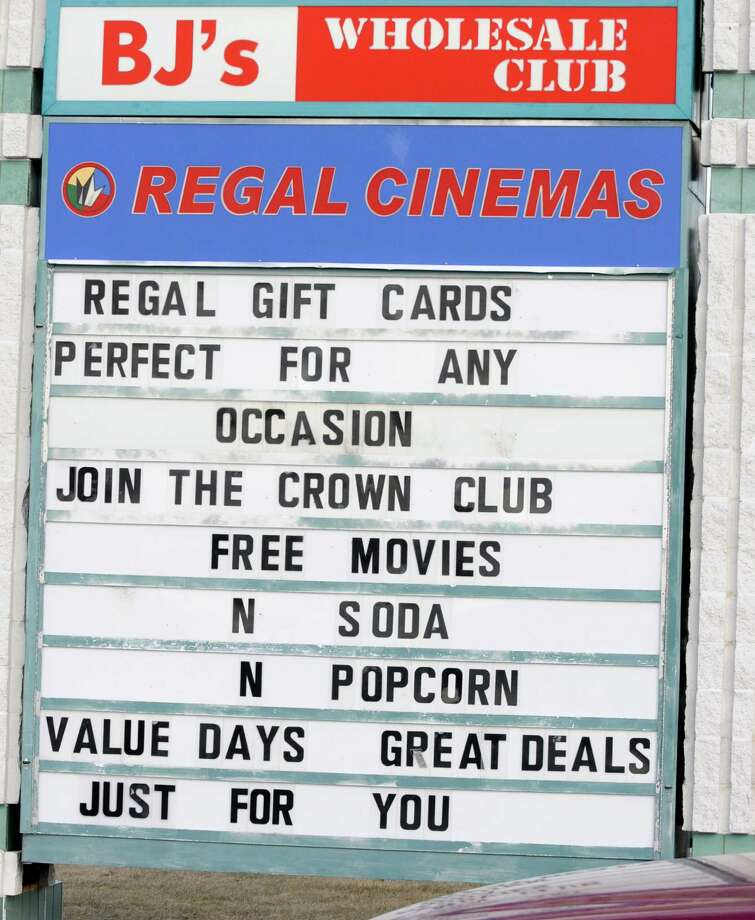 A sign for Regal Cinemas within the Wilton Mall main entrance sign on Wednesday Feb. 6, 2013 in Wilton, N.Y.  (Lori Van Buren / Times Union) Photo: Lori Van Buren