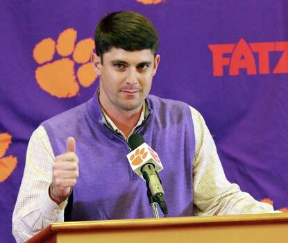 Jeff Scott, Clemson wide receivers coach and recruiting coordinator, discusses the school's new recruiting class during an NCAA college football news conference, Wednesday, Feb. 6, 2013, in Clemson, S.C. (AP Photo/The Independent-Mail, Mark Crammer) THE GREENVILLE NEWS OUT, SENECA NEWS OUT Photo: Mark Crammer, Associated Press / The Independent-Mail