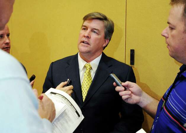 Colorado head coach Mike MacIntyre talks about his first recruiting class on signing day at an NCAA college football news conference, Wednesday, Feb. 6, 2013, in Boulder, Colo. (AP Photo/The Daily Camera, Cliff Grassmick) NO SALES; MAGS OUT; TV OUT Photo: Cliff Grassmick, Associated Press / The Daily Camera