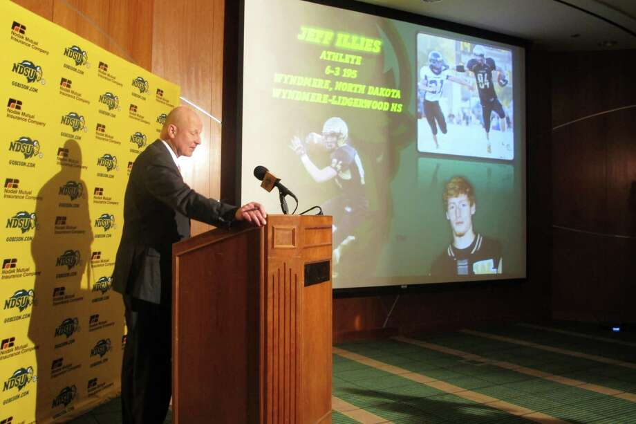 North Dakota State head football coach Craig Bohl talks about 21 high school players who signed national letters of intent to attend the school during national signing day,  Wednesday, Feb. 6, 2013. The Bison have won back-to-back Football Championship Subdivision titles. (AP Photo/Dave Kolpack) Photo: Dave Kolpack, Associated Press / AP