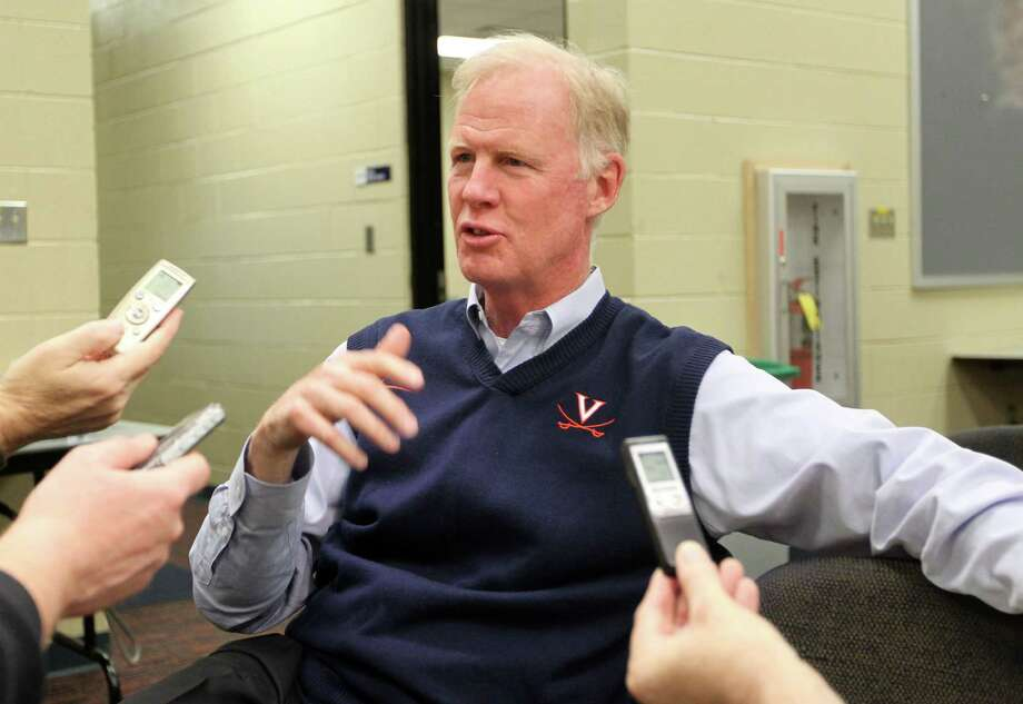 Tom O'Brien, Virginia's associate head coach for offense/tight ends, talks about the school's recruiting class during a news conference on national signing day, Wednesday, Feb. 6, 2013, in Charlottesvile, Va. Photo/The Daily Progress, Andrew Shurtleff) Photo: Andrew Shurtleff, Associated Press / The Daily Progress