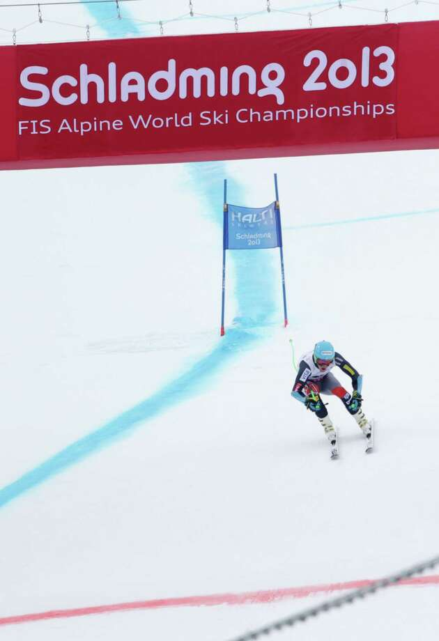 United States' Ted Ligety skis towards the finish line during the men's super-G at the Alpine skiing world championships in Schladming, Austria, Wednesday, Feb.6,2013. (AP Photo/Matthias Schrader) Photo: Matthias Schrader