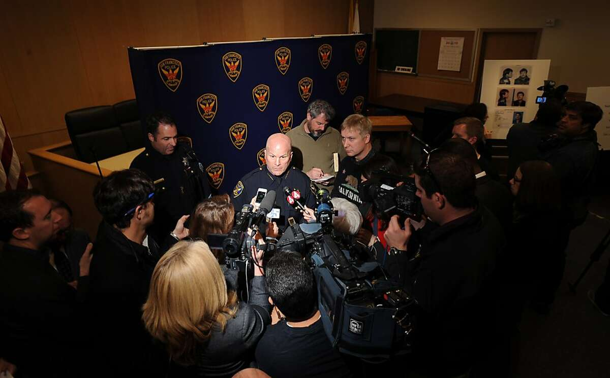 """San Francisco Police Chief Greg Suhr speaks with reporters about Kevin Collins' 1984 disappearance on Wednesday, Feb. 6, 2013, in San Francisco. Police named Dan Therrien, who used several aliases and died in 2008, as a """"person of interest"""" in the decades-old case."""