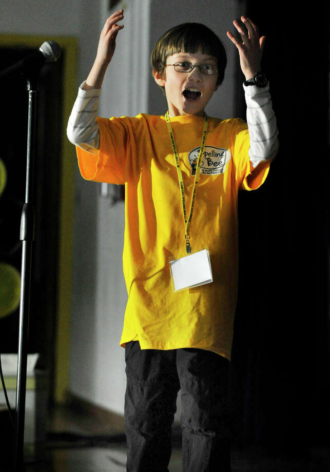 Gordon Ensign reacts after winning the fifth-grade champions R2 Spelling Bee benefiting the Juvenile Diabetes Research Foundation and Northeast Elementary School PTO at the school in Stamford on Wednesday, Feb. 6, 2013. Photo: Jason Rearick / The News-Times