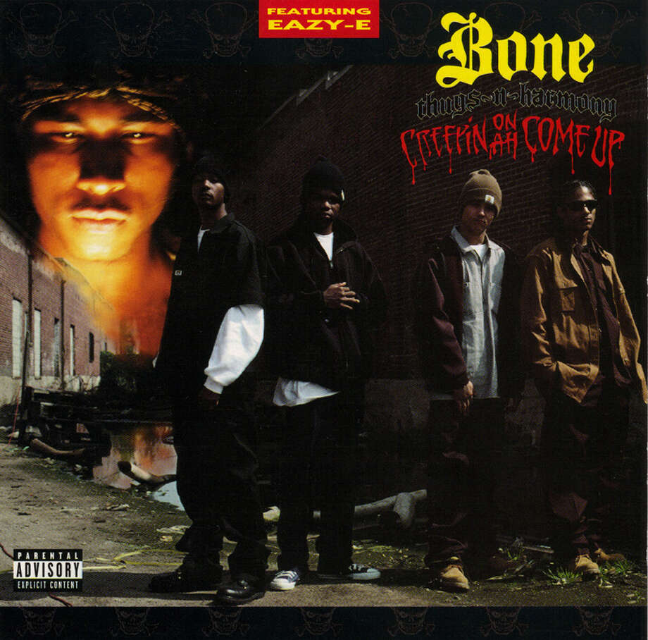 "Bone Thurgs-N-Harmony – ""Creepin on ah Come Up:"" In 1998, The Source picked this as one of the 100 all-time best rap albums. What year was the disc, which included ""Thuggish Ruggish Bone"" released? Of course it was 1994. (Album cover)"