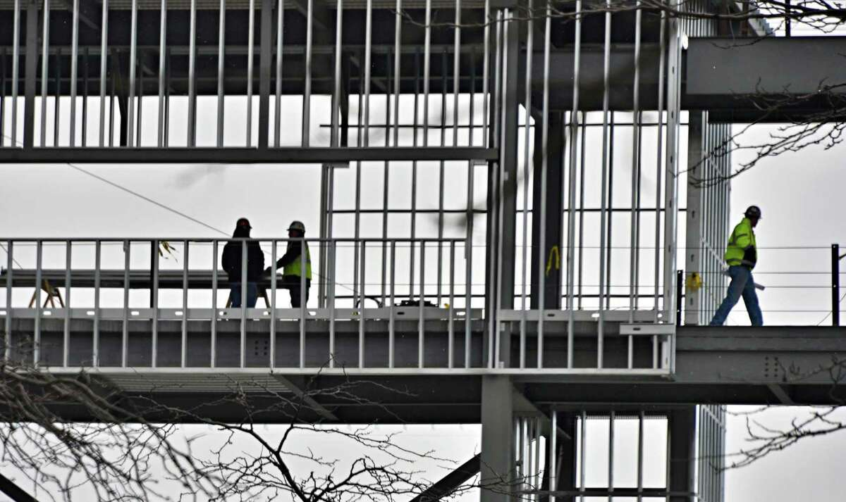Construction continues on UAlbany's new football stadium on Wednesday. Read about UAlbany football beginning a new era. (John Carl D'Annibale / Times Union)