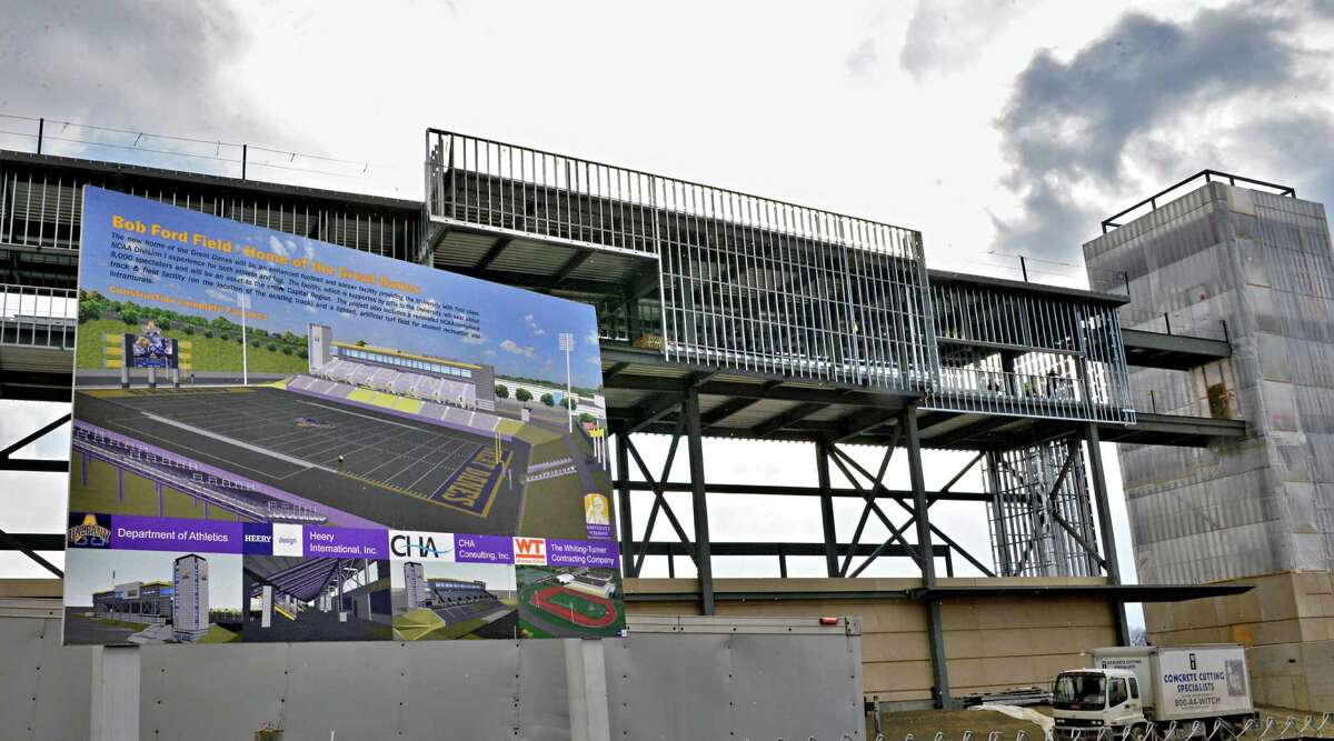 Construction continues on UAlbany's new football stadium Wednesday Feb. 6, 2013. (John Carl D'Annibale / Times Union)