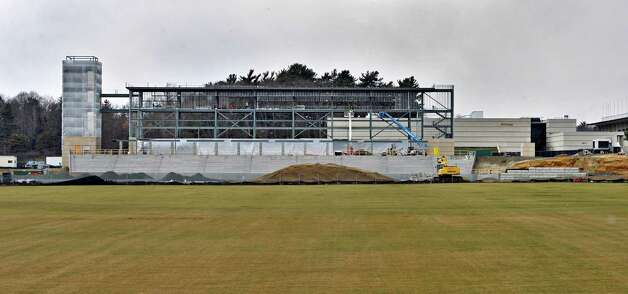 Construction continues on UAlbany's new football stadium Wednesday Feb. 6, 2013.  (John Carl D'Annibale / Times Union) Photo: John Carl D'Annibale / 10021059A