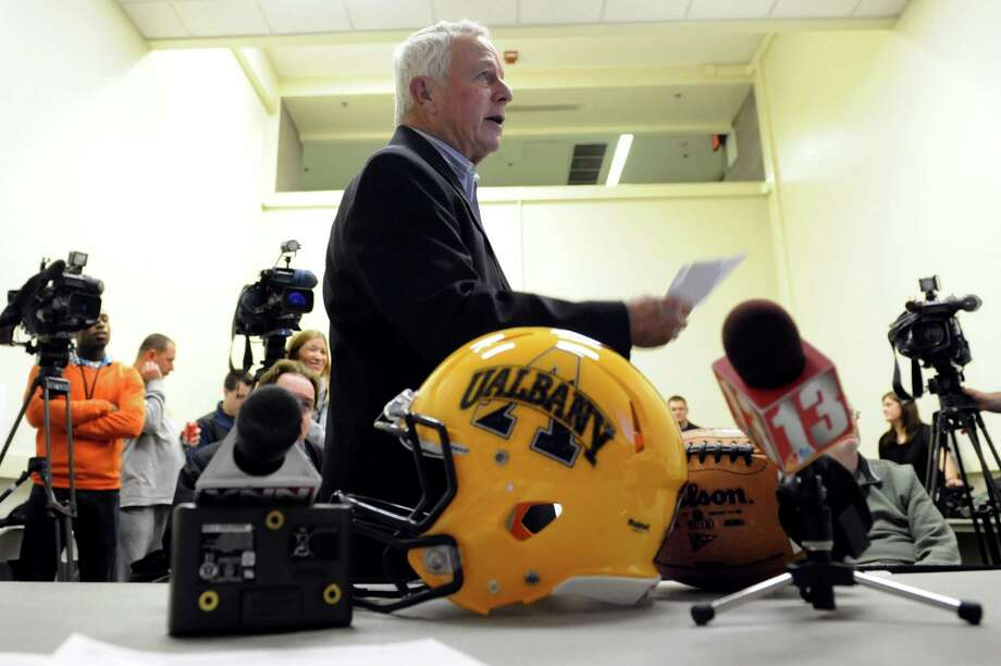 UAlbany football coach Bob Ford, center, announces this year's recruiting class during a news conference on Wednesday, Feb. 6, 2013, at UAlbany in Albany, N.Y. (Cindy Schultz / Times Union) Photo: Cindy Schultz / 10021059A