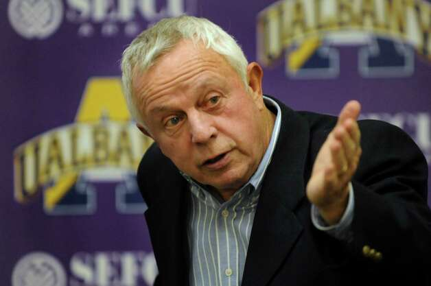 UAlbany football coach Bob Ford announces this year's recruiting class during a news conference on Wednesday, Feb. 6, 2013, at UAlbany in Albany, N.Y. (Cindy Schultz / Times Union) Photo: Cindy Schultz / 10021059A