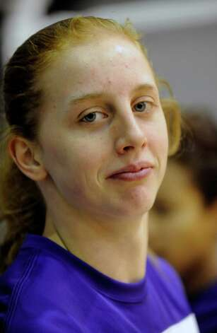 UAlbany's Julie Forster poses for a portrait before playing against UMBC's during their America East Conference basketball game in Albany, N.Y., Wednesday, Feb. 6, 2013. (Hans Pennink / Special to the Times Union) College Sports Photo: Hans Pennink / Hans Pennink