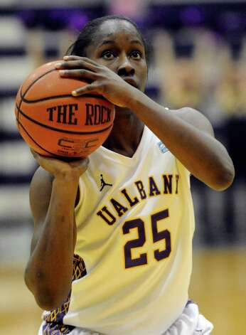 UAlbany's Shereesha Richards shoots a foul shot  against UMBC's during their America East Conference basketball game in Albany, N.Y., Wednesday, Feb. 6, 2013. (Hans Pennink / Special to the Times Union) College Sports Photo: Hans Pennink / Hans Pennink