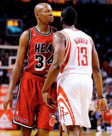 Feb. 6: Heat 114, Rockets 108Heat guard Ray Allen (34) has words with Rockets guard James Harden (13) after a play. Photo: Wilfredo Lee, Associated Press / AP