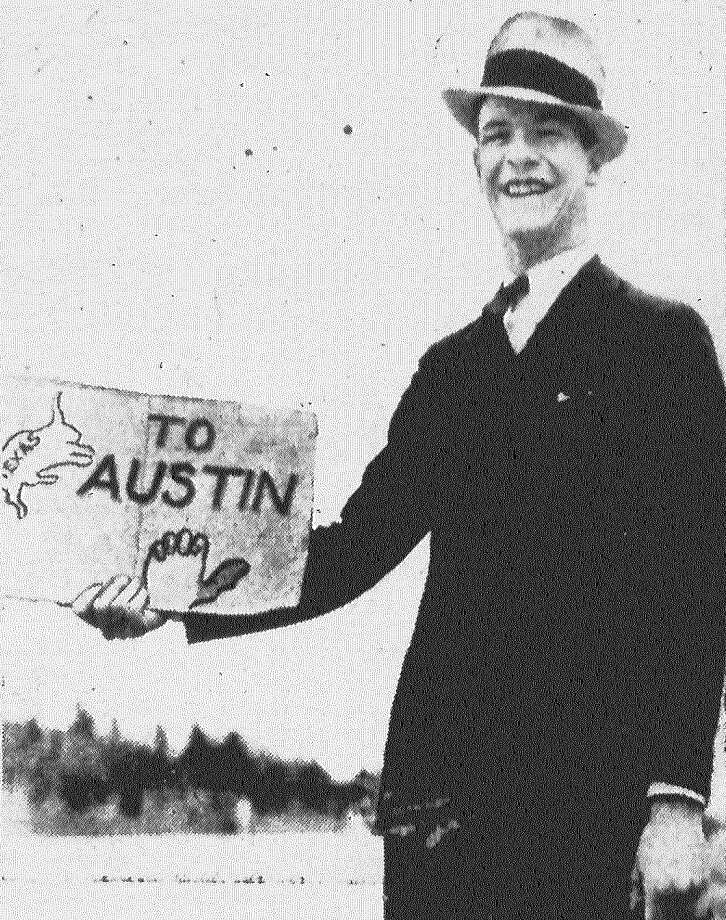 James Welsh, a Dallas student at the University of Texas, after visiting a friend here decided to get back to his engineering studies. He whipped out his sign and took post on Austin Highway. To save the trouble of thumbing, he painted a hand on the sign and to save stops for those not going his way, he signified his destination on the sign, too. Published in the San Antonio Light Feb. 1, 1938. Photo: File Photo