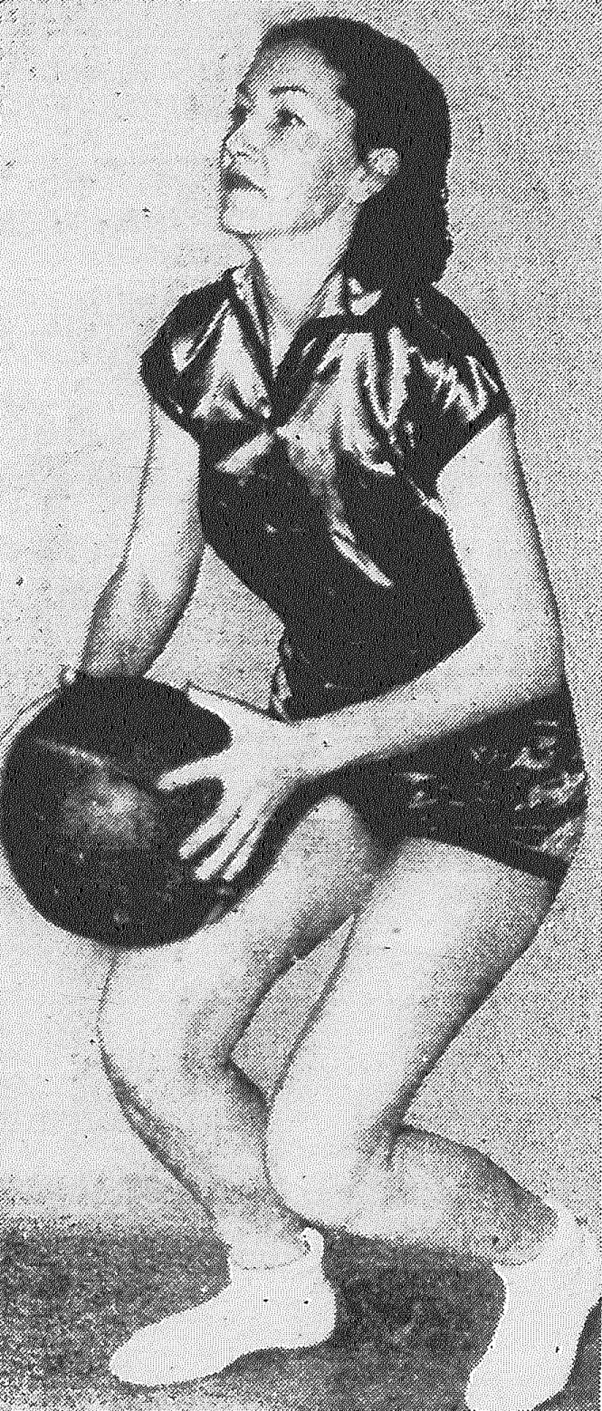 Ell Louise McCaskill, forward of the Pearl Brewettes basketball sextet, is expected to star in her team's games this week. Pearl plays a team from Prairie Lea Wednesday at Woodlawn and the Taylor Green Devils Friday at the same place. Published in the San Antonio Light Feb. 1, 1938.