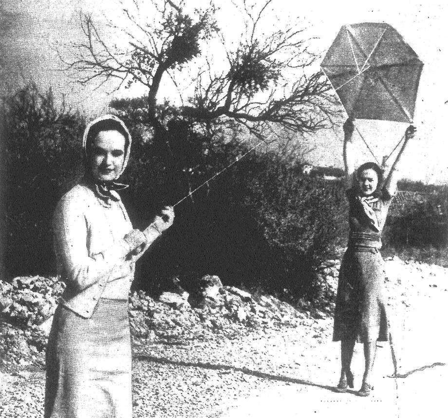 Mrs. Jack Foster (left) and Mrs. William Wyatt take advantage of windy days to go kite-flying — even as do the youngsters these afternoons. Published in the San Antonio Light Feb. 4, 1938. Photo: File Photo