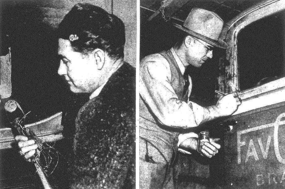 "LEFT: H.C. ""Dusty"" Rhodes, police identification expert, examines a five-pound sledge hammer used by safe robbers in the slaying of Max. R. Sucrow, a 65-year-old night watchman at the Roegelein Provision Company. RIGHT: Officer Davenport seeks fingerprints from a truck taken from the company at 1701 South Brazos St., where Sucrow was slain. The truck was found at Zarzamora and South Laredo streets. Published in the San Antonio Light Feb. 8, 1938. Photo: File Photo"