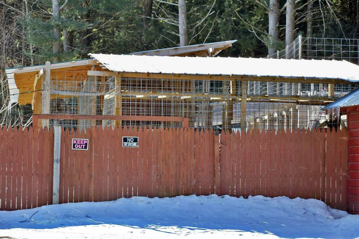 Animal enclosure at Steve Salton's Mayfield home Tuesday Feb. 5, 2013. (John Carl D'Annibale / Times Union)