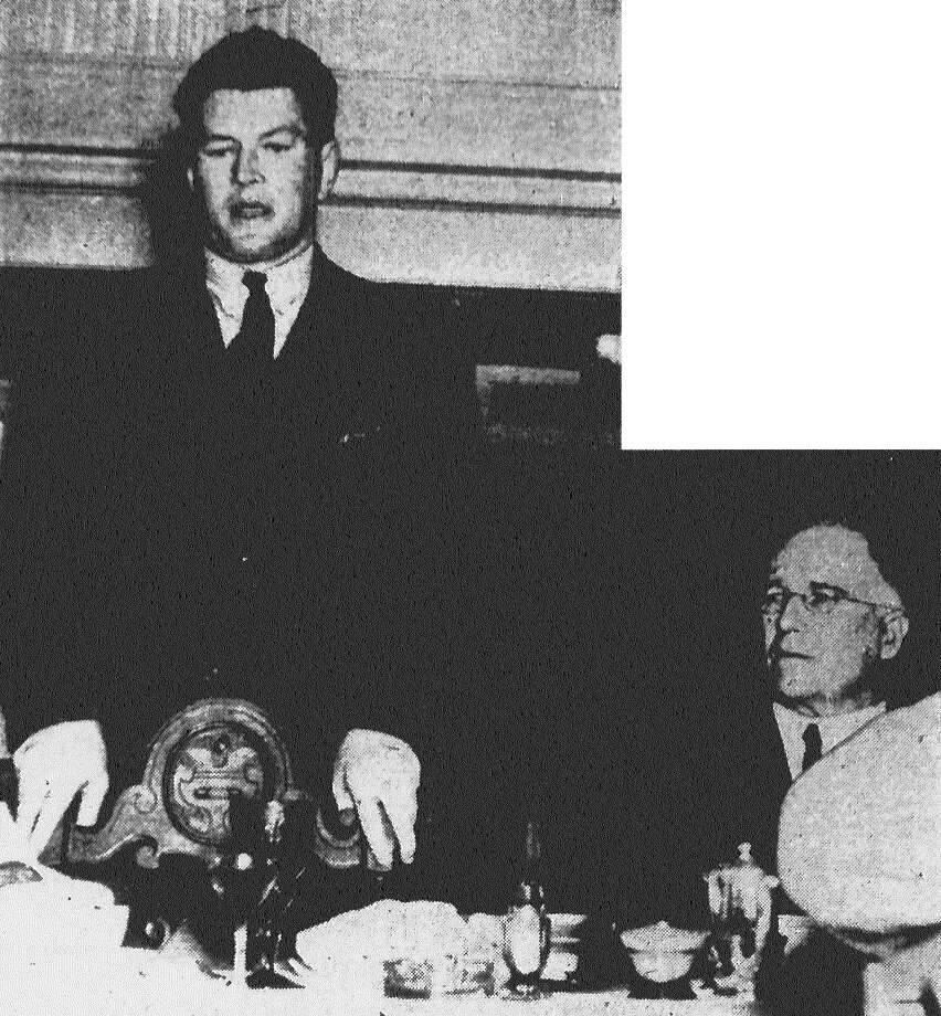 """Former heavyweight champ Gene Tunney, who visited San Antonio Wednesday, tells an interested luncheon audience about the celebrated """"long count"""" in his second fight with Jack Dempsey at Chicago. Agreed rules on the fight, Tunney said, forced Dempsey to go to a neutral corner before the count began, """"so I stayed down until nine."""" Published in the San Antonio Light Feb. 10, 1938. Photo: File Photo"""
