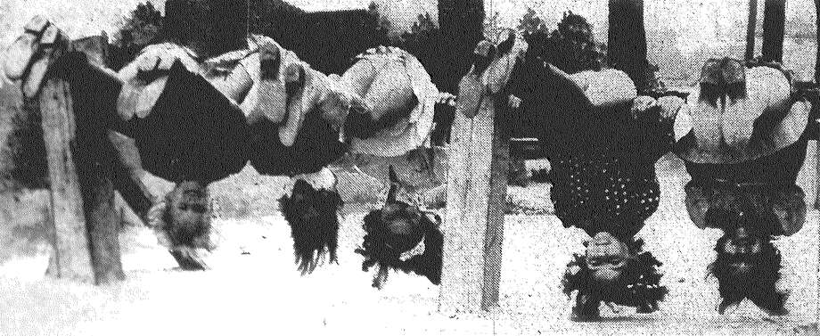 Students of Herff Elementary School take a look at the world from an unusual angle. They are Evelyn Nitschman (from left), Charmaine Cude, Doris Jeane Neese, Janie Alice Mosely and Shirley Robolin. Published in the San Antonio Express Feb. 13, 1938. Photo: File Photo