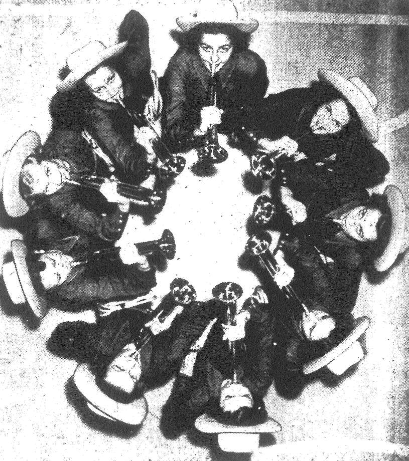 Betty Rae Davis (from top, clockwise), Marjorie Baird, Mildred Young, Frances Nixon, Mary Bassett, Marguerite Gaines, Betty Cade, Hazel Meador and Ruth Burnett are members of the drum and bugle corps to be organized at Jefferson Senior High School. The corps will be featured at school sporting events. Published in the San Antonio Light Feb. 19, 1938. Photo: File Photo