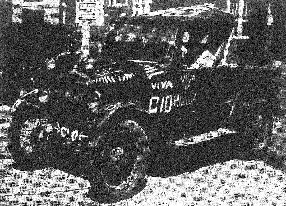 More than 100 pecan shelling striker-pickets were arrested by police and charged with violating a city sign ordinance Friday morning, including the driver of this Congress of Industrial Organizations (C.I.O.) emblazoned flivver. Published in the San Antonio Light Feb. 25, 1938. Photo: File Photo