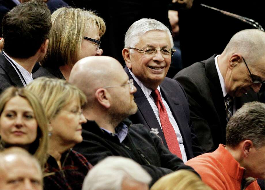 NBA Commissioner David Stern sits in the stands during the first half of an NBA basketball game between the Minnesota Timberwolves and the San Antonio Spurs on Wednesday, Feb. 6, 2013, in Minneapolis. Photo: Genevieve Ross, Associated Press / FR170496 AP