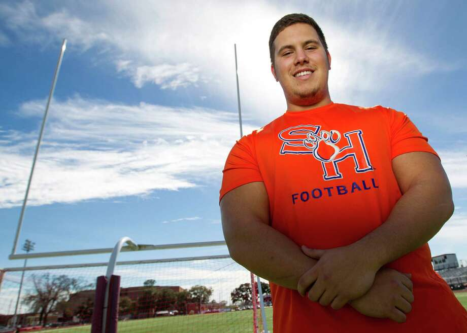 Katy offensive lineman Aaron Sowell is being touted by Sam Houston State as a possibility to play as a true freshman. Photo: Karen Warren, Staff / © 2013 Houston Chronicle
