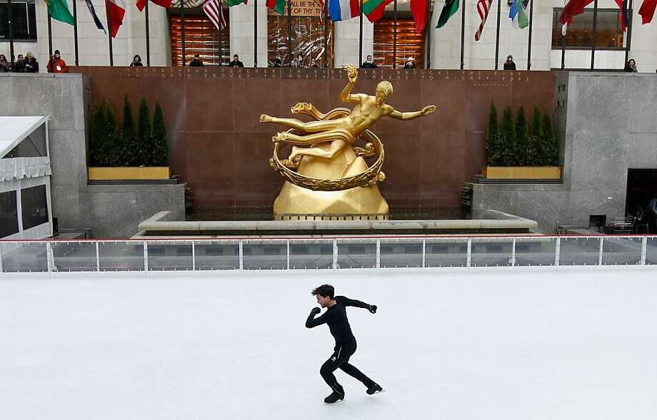 *** BESTPIX *** NEW YORK, NY - FEBRUARY 06:  Team USA 2014 Olympic figure skating hopeful Evan Lysacek performs during the Today Show One Year Out To Sochi 2014 Winter Olympics celebration at NBC's TODAY Show on February 6, 2013 in New York City.  (Photo by Mike Stobe/Getty Images for USOC) Photo: Mike Stobe