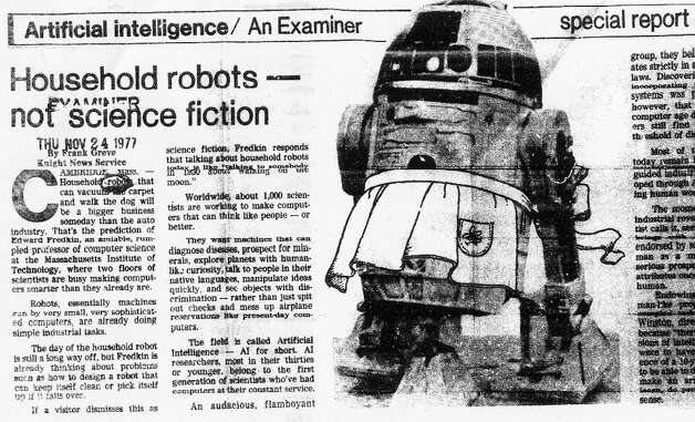 Nov. 24, 1977: I'm calling this Examiner article the ultimate low point in the Bay Area robot coverage. R2-D2 in an apron, along with a story all but guaranteeing robot butlers by 1979. (No wonder it took me five years of pressure to convince George Lucas to sit down for an interview.) Photo: Chronicle Archives, The Chronicle / ONLINE_YES