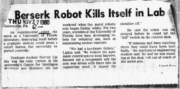 Nov. 27, 1980: Another robot violence article that ran in the Chronicle. Between this and The Day After, I pretty much never wanted to leave my house between the ages of 7 and 13. Photo: Chronicle Archives, The Chronicle / ONLINE_YES
