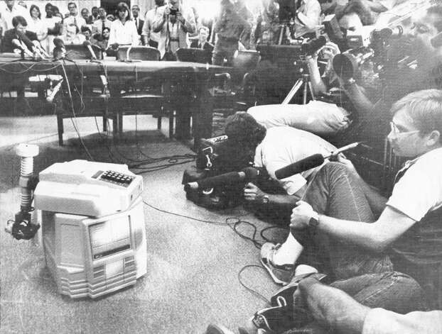 June 23, 1983: A robot gives a short programmed testimony at a U.S. Senate Commerce, Science and Technology committee meeting. When it was done, the robot shot a hidden lightsaber to Alan Cranston, who then slayed Jesse Helms. I'm not going to tell you what Dianne Feinstein was wearing during all this. Photo: Bob Strong/UPI / ONLINE_YES