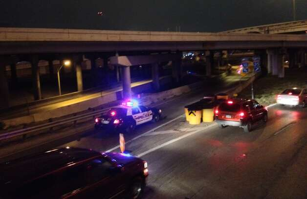 The ramps at the I-10/Highway 35 interchange were closed this morning after a man was hit by a car on I-10. Photo: Sarah Tressler/Express-News