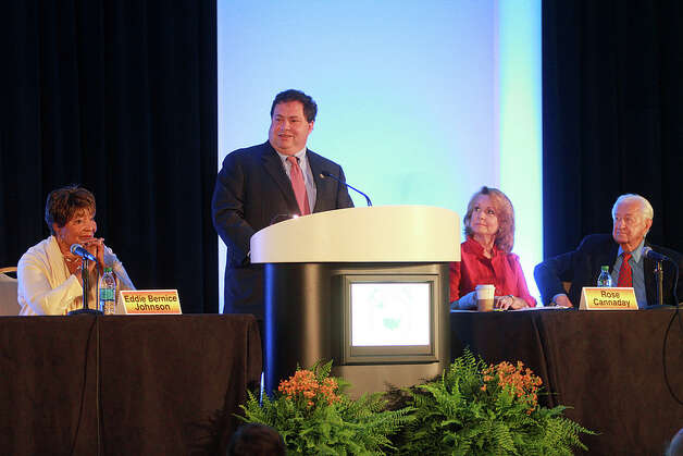 Rep. Blake Farenthold speaks at a summit on transportation and infrastructure in August 2012.