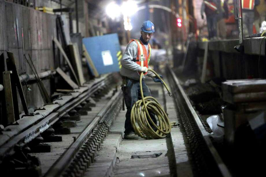 In this Wednesday, Jan. 23 2013 photo, a contractor works at the Second Avenue Subway construction project in New York. The Second Avenue Subway will eventually serve Manhattan's far East Side, from Harlem to the island's southern tip. Photo: Mary Altaffer, AP / AP