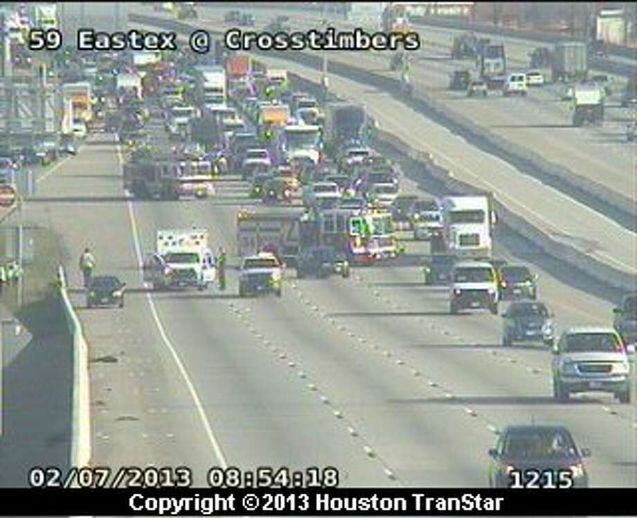 A traffic snarled on the southbound Eastex in northeast Houston Thursday morning. Photo: Houston Transtar