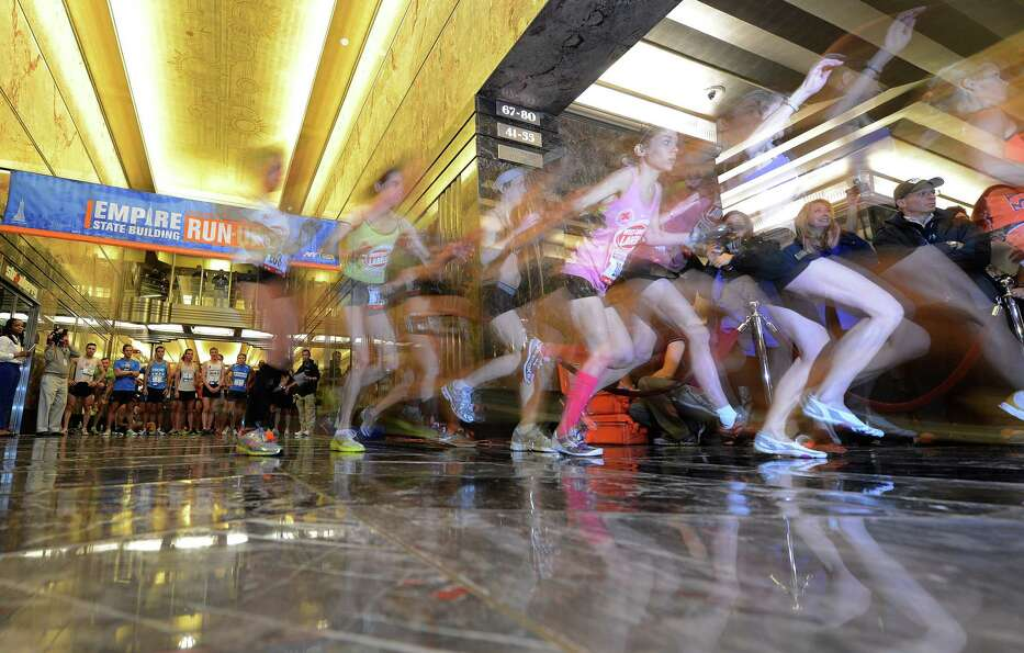 Competitors starts the 36th annual Empire State Building run-up in New York, February 6, 2013. Some