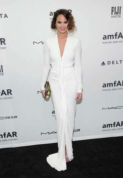 Model Chrissy Teigen attends amfAR's New York gala at Cipriani Wall Street on Wednesday, Feb. 6, 201
