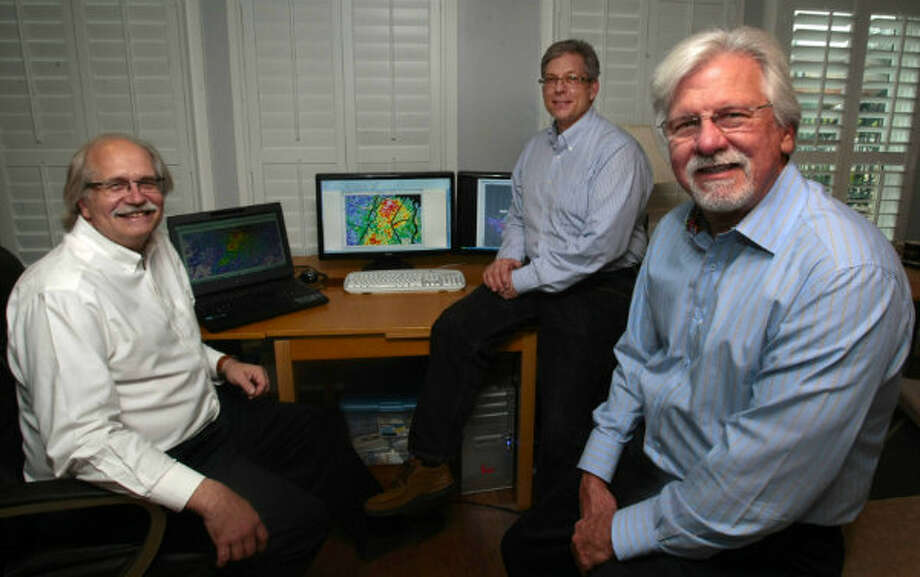 The team behind plans to drill for oil at Spindletop: geophysicist Brain Kalinec of I.P. Petroleum; Chet Pohle, geophysics manager of E&B Natural Resources; and E&B Natural Resources Director of Land G.R. Bud Tippens.