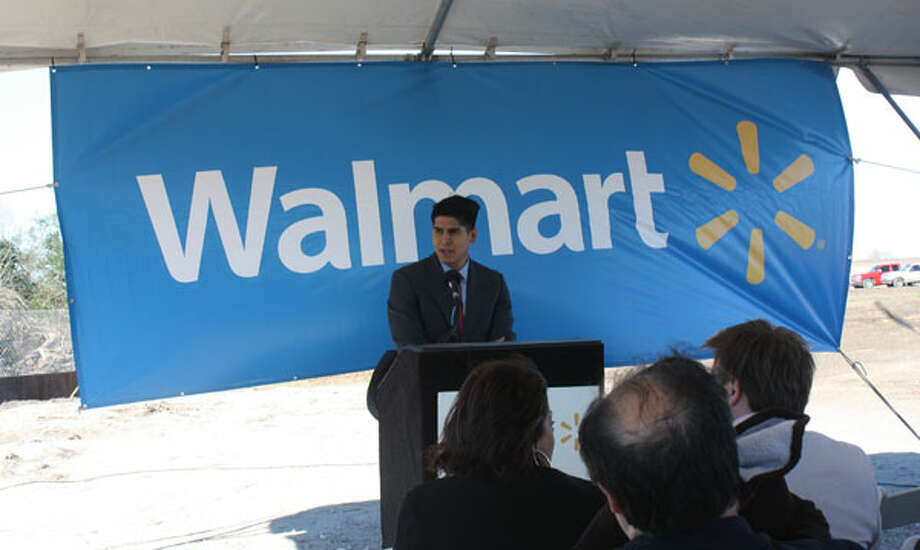 Rey Saldana, District 4 city councilman, speaks at the Jan. 30 announcement of the new City South Walmart. Courtesy photo