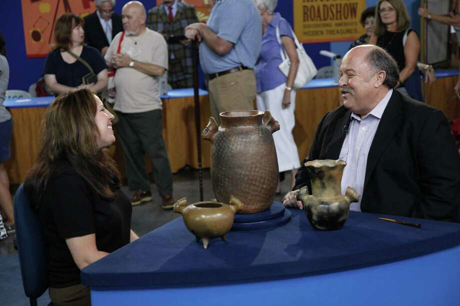 "Bruce Shackelford appraises Sara Ayers Catawba pottery during an episode of ""Antiques Roadshow."" His conclusion: The pottery, from around 1970, is worth $2,900 to $3,900. Photo: PBS"
