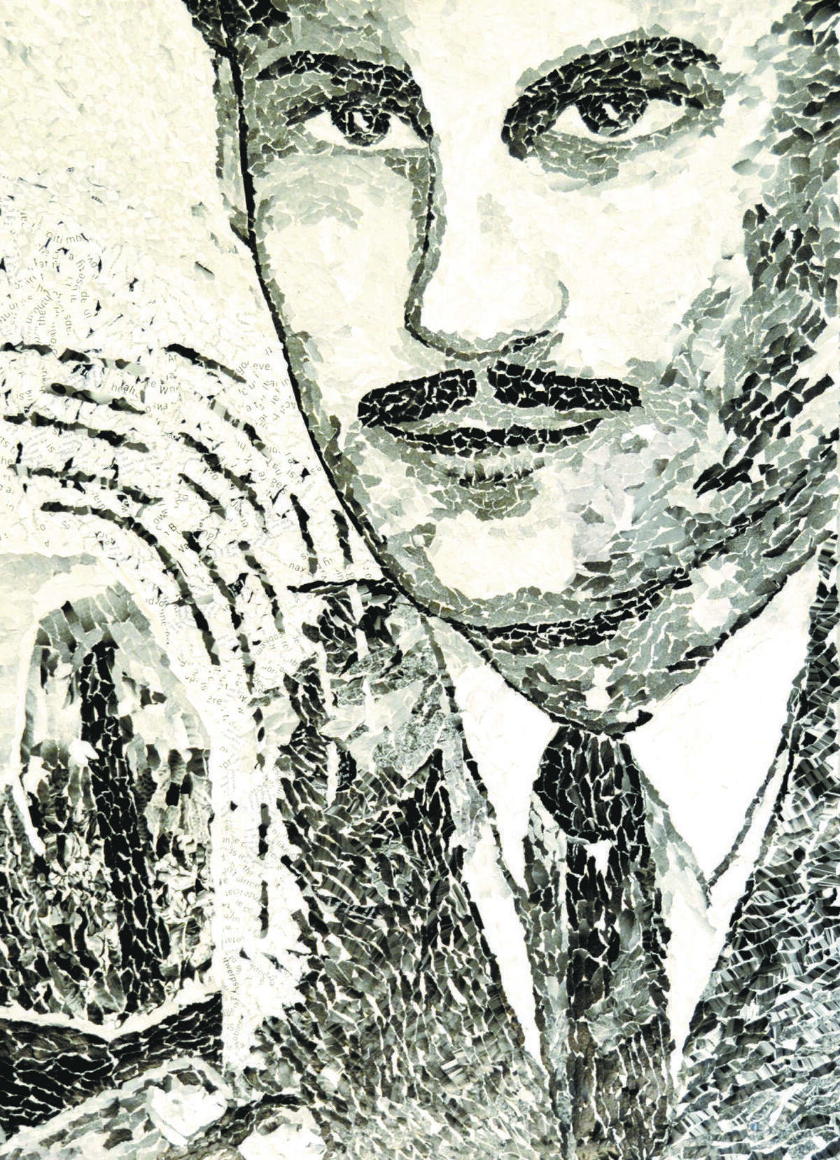 Wheeler made a collage portrait of her father from bits of torn paper.
